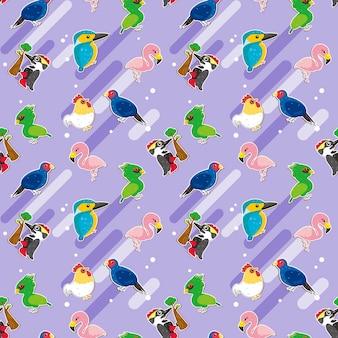 鳥のシームレスなパターンデザイン、紫色の背景の上のかわいい鳥のさまざまな種