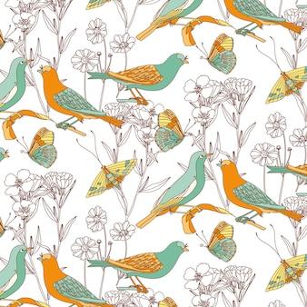 Birds seamless pattern with butterflies