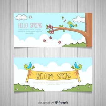 Birds spring banner template