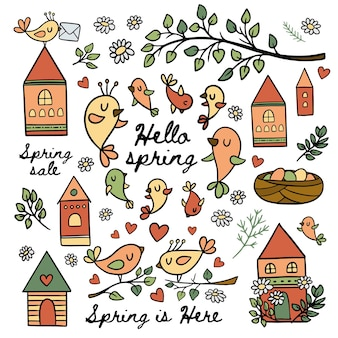 Birds in spring makes their nests blooming nature branch with leaves merry houses cartoon