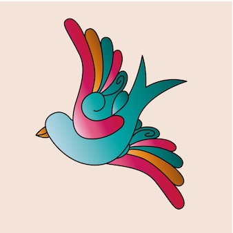 Птица тату изолированный дизайн иконок