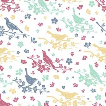 Birds and twigs seamless pattern. flower and branch, decoration love and romantic, design floral, vector illustration