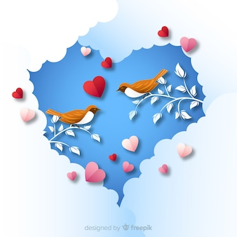 Birds valentine background