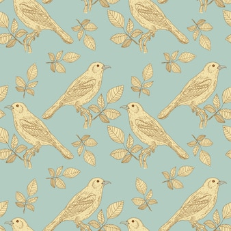 Birds vintage seamless pattern