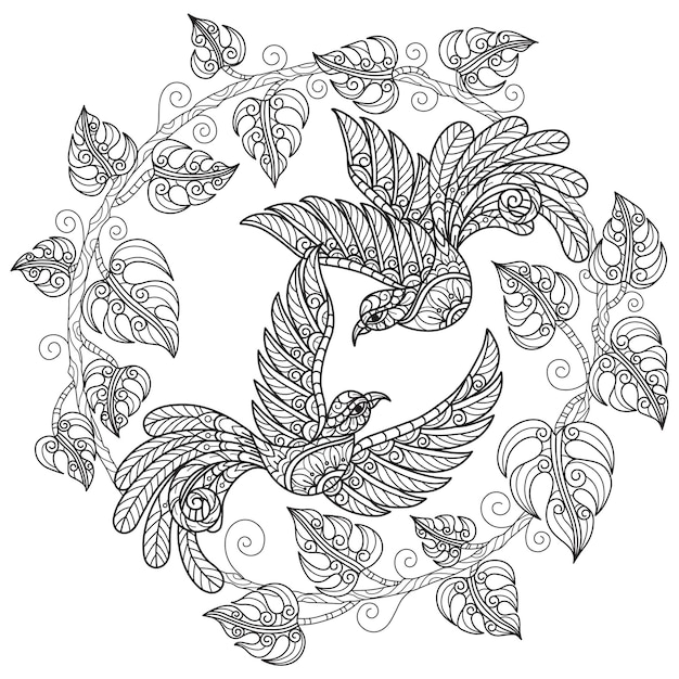 Birds on white background hand drawn sketch for adult colouring book