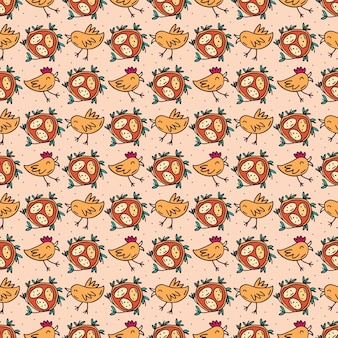 Birds with eggs in nest. seamless pattern