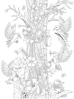 花の要素を持つ鳥大人のぬりえ