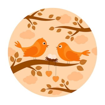 Birds with nest eggs on branch, vector illustration
