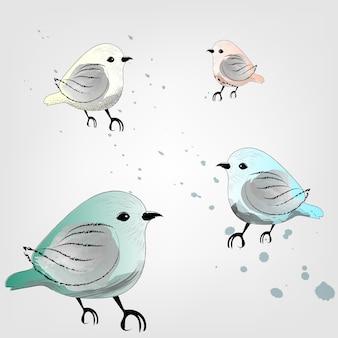Birds with watercolor