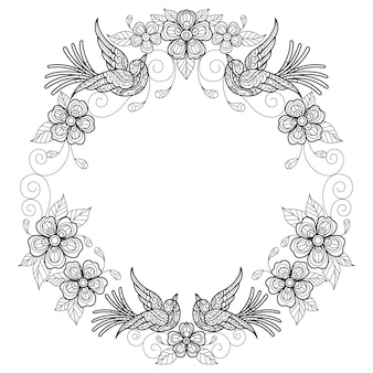 Birds wreathhand drawn sketch illustration for adult coloring book