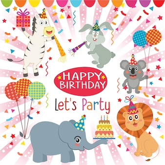 Birhtday background animals design