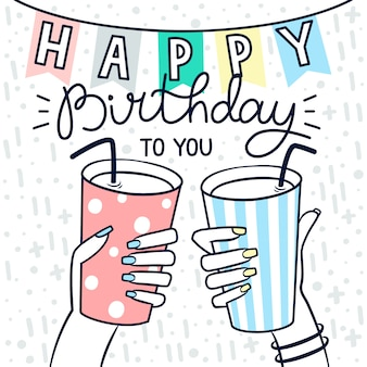 Birhtday card in hand drawn style