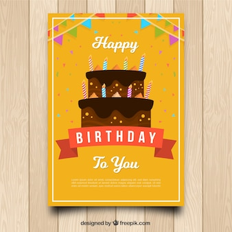 Birhtday card with cake in flat style