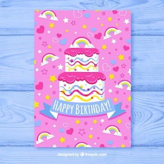 Birhtday card with colorful cake in hand drawn style