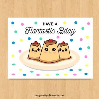 かわいいデザートのbirhtdayカード