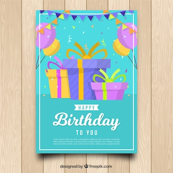 Birhtday card with gift boxes in flat style