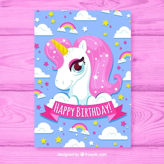 Birhtday card with unicorn in hand drawn style