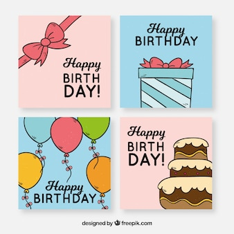 Birhtday cards collection with party elements