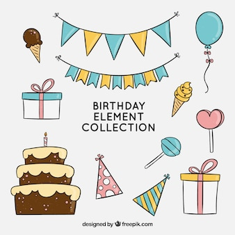 Birhtday elements collection in hand drawn style