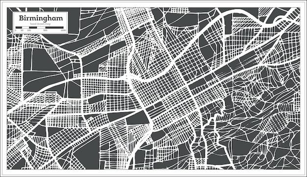 복고 스타일의 버밍엄 앨라배마 미국 도시 지도. 개요 지도. 벡터 일러스트 레이 션.
