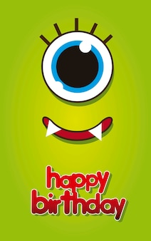 Birtday card with green monster face vector illustration