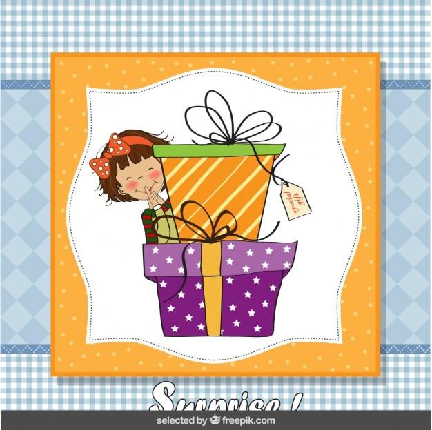 소녀와 큰 선물 상자가있는 출생 카드