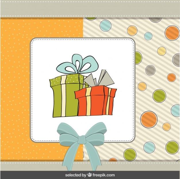 Birth card with hand drawn presents