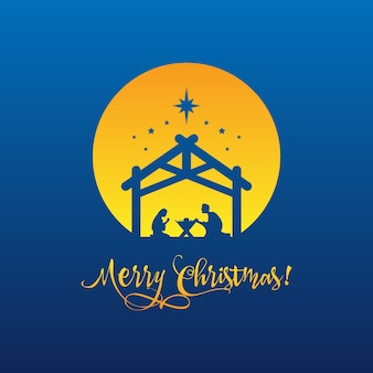 Birth of christ, silhouette of mary, joseph and jesus with text merry christmas. vector eps 10