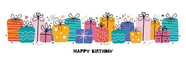 День рождения горизонтальный праздничный баннер с типографикой с днем рождения. много подарков, подарков, растяжек, звезд, графического элемента.