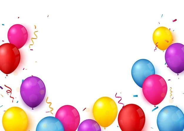 День рождения и праздник баннер с красочным воздушным шаром