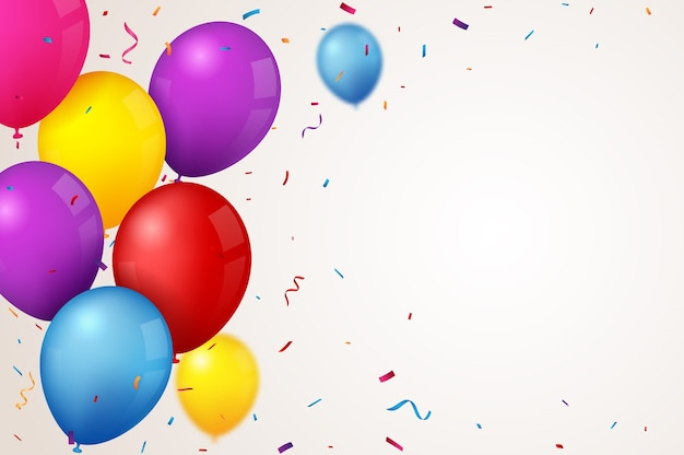 カラフルな風船と誕生日とお祝いのバナー