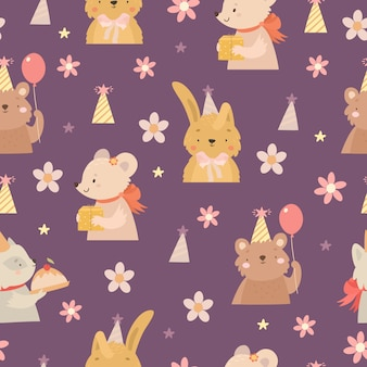 Birthday animals pattern