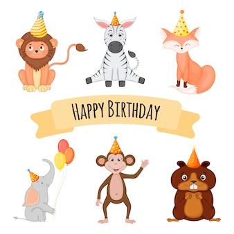 Birthday animals set for holiday card or invitation. cartoon style. vector illustration.