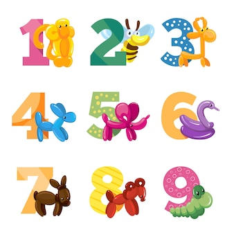 Birthday anniversary cartoon numbers with cute balloon animals for birthday baby party