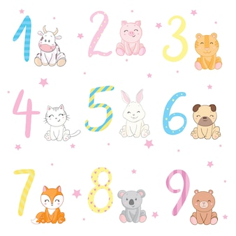 Birthday anniversary numbers with cute animals