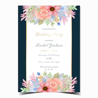 Birthday announcement card with gorgeous flowers