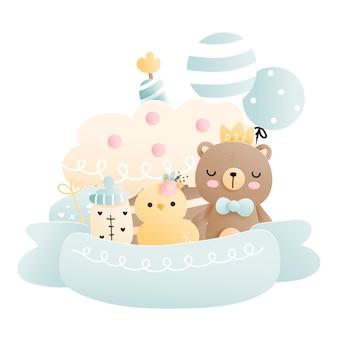 Birthday baby bear baby boy