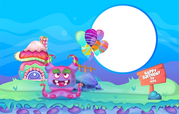 Birthday background  colorful character design