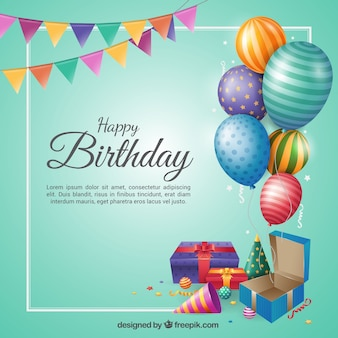 Birthday background in flat design
