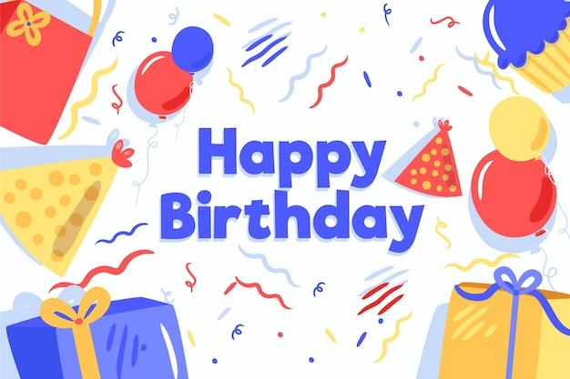 День рождения фон в плоском дизайне