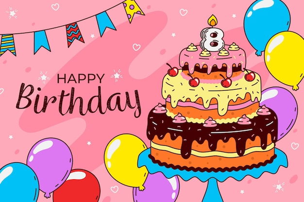 Birthday background theme Premium Vector