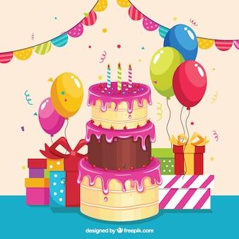 큰 케이크와 함께 생일 배경