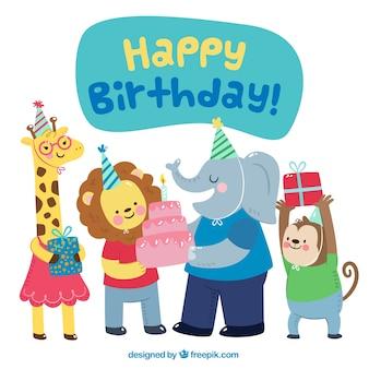 フラットデザインの動物との誕生日背景