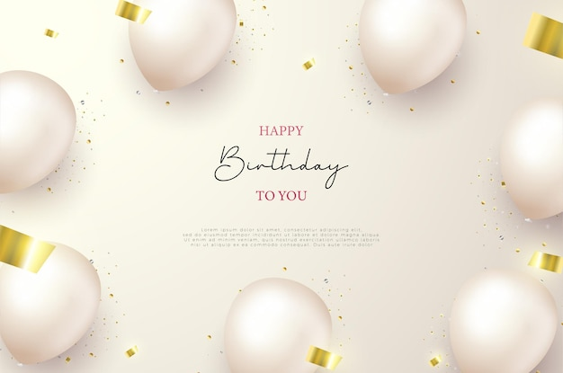 Birthday background with balloon balloons and torn gold ribbons