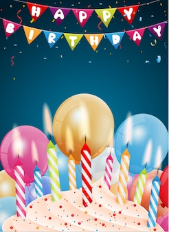 Birthday background with colorful candle and light