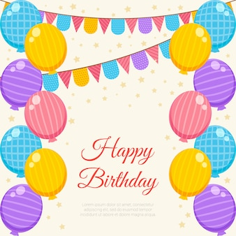 День рождения с цветным воздушным шаром и гирляндой