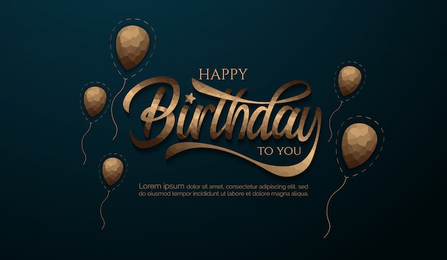 Birthday background with crystallize letter and balloon