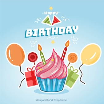 Birthday background with cupcake Free Vector