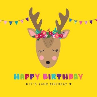 Birthday background with cute deer