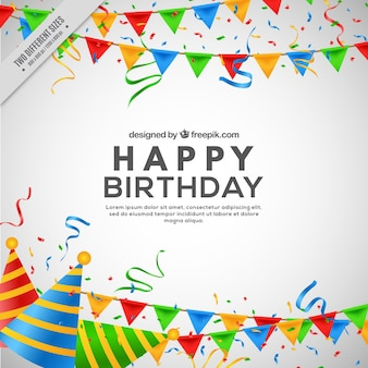 Birthday background with garlands and party hats in realistic style